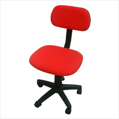 armless office chair in red