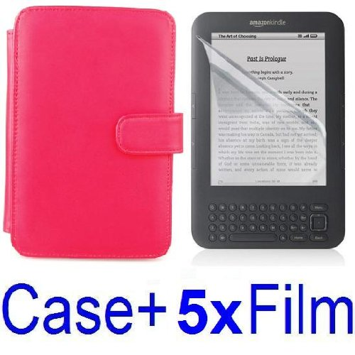 Neewer RED Protective Leather Case Cover For Kindle 3 eBook E-Reader + 5X Screen Protector (Kindle E book reader) รูปที่ 1
