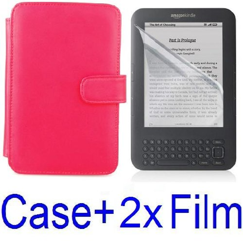 Neewer RED Protective Leather Case Cover For Kindle 3 eBook E-Reader + 2X Screen Protector (Kindle E book reader) รูปที่ 1