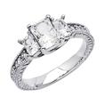 14K White Gold Emerald Three Stone CZ Cubic Zirconia Wedding Engagement Ring Band