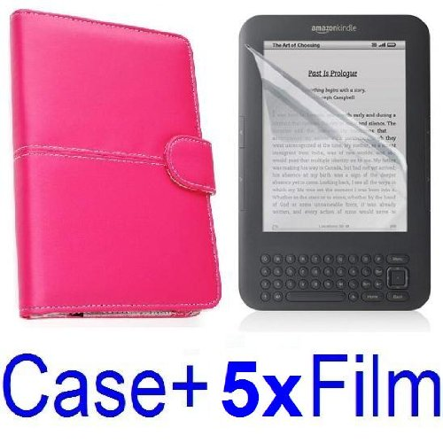 Neewer Leather Case Cover For Amazon Kindle 3 eBook Reader (MAGENTA) + 5x Clear Screen Protector (Kindle E book reader) รูปที่ 1