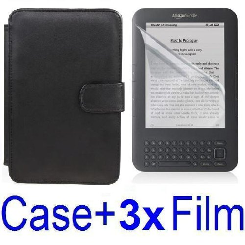 Neewer Black Protective Leather Case Cover For Amazon Kindle 3 eBook E-Reader + 3x SCREEN PROTECTOR (Kindle E book reader) รูปที่ 1