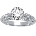 14k White Gold Antique Style Engagement Ring with a 0.76 Carat F SI2 EGL USA Certified Center Stone and 0.4 Carats of Side Diamonds (1.16 Cttw)