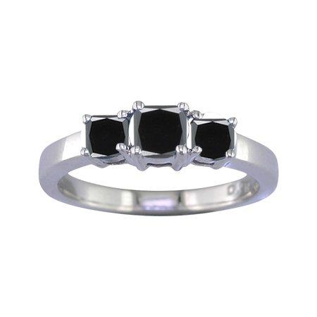 1 Ct Three-Stone Black Diamond Engagement Ring 14k White Gold ( FineDiamonds9 ring ) รูปที่ 1