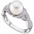 Ring 14K White Gold Freshwater Cultured Pearl And Diamond Ring