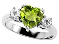 2.60 cttw 925 Sterling Silver 14K White Gold Plated Genuine Heart Shape Peridot Engagement Ring - Gold Plated Silver ( Finejewelers ring )