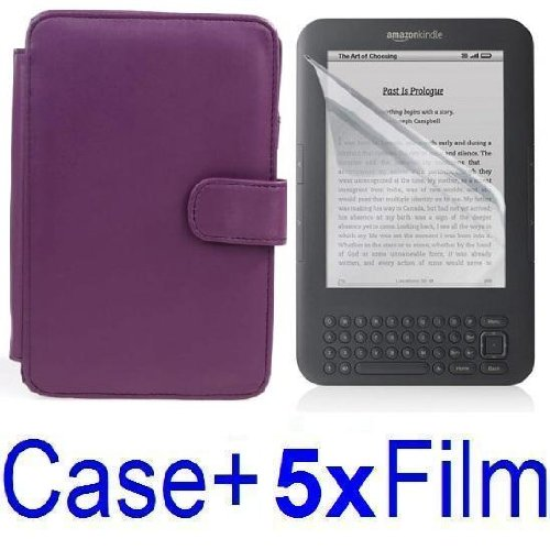 Neewer PURPLE Protective Leather Case Cover For Kindle 3 eBook E-Reader + 5x SCREEN PROTECTOR (Kindle E book reader) รูปที่ 1