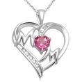 Sterling Silver Created Pink Sapphire & Diamond Mom Heart Pendant, 18