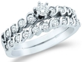 14k White Gold Diamond Ladies Womens Bridal Engagement Ring with Matching Wedding Band Two 2 Ring Set Small Solitaire with Side Stones Channel Set Round Brilliant Cut Diamond Ring (1/2 cttw, G - H Color, SI2 Clarity) ( Sonia Jewels ring )