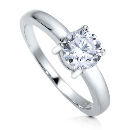 Sterling Silver 925 Cubic Zirconia CZ Round Solitaire Ring - Women's Engagement Wedding Ring ( BERRICLE ring ) รูปที่ 1