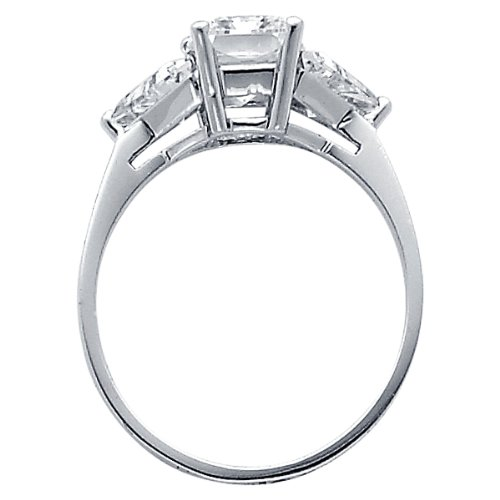 14K White Gold Emerald Three Stone CZ Cubic Zirconia Wedding Engagement Ring Band ( The World Jewelry Center ring ) รูปที่ 1