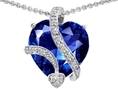 11.40 cttw 14K White Gold Plated 925 Sterling Silver Large 15mm Heart Shaped Lab Created Sapphire Love Pendant ( Finejewelers pendant )