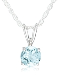 Sterling Silver 6mm Round Blue Topaz Pendant with Light Rope Chain Necklace, 18