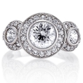 Sterling Silver Cubic Zirconia CZ 3-Stone Ring - Women's Engagement Wedding Ring ( BERRICLE ring )