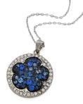 Silvertone Blue Rhinestone Flower Pendant Necklace Fashion Jewelry ( PammyJ Necklace pendant )