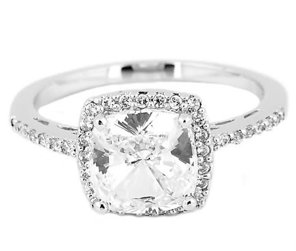 2.5 Ct Cushion Cut Center with Round Cut Cz Cubic Zirconia Engagement Ring-Sterling Silver  รูปที่ 1