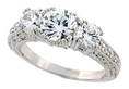 Sterling Silver Vintage Style 3-Stone Engagement Ring w/ Rhodium Plating, w/ two 5mm (0.50 Carat each) & one 7mm (1.25 Carats) Brilliant Cut CZ Stones, 1/4