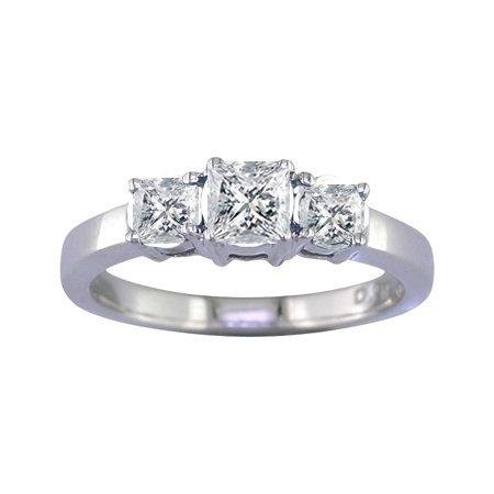 1/2 Ct Three-Stone Diamond Engagement Ring In 14K White Gold ( FineDiamonds9 ring ) รูปที่ 1