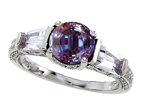 2.60 cttw 925 Sterling Silver 14K White Gold Plated Lab Created Alexandrite Engagement Ring - Gold Plated Silver ( Finejewelers ring ) รูปที่ 1