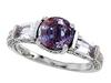 รูปย่อ 2.60 cttw 925 Sterling Silver 14K White Gold Plated Lab Created Alexandrite Engagement Ring - Gold Plated Silver ( Finejewelers ring ) รูปที่1