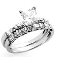 14K White Gold Engagement Ring 1.2ctw CZ Cubic Ziroconia Princess Cut Solitaire W/ Baguette Ring Set ( Double Accent ring )