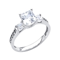 14K White Gold Princess Three Stone with Side Stone CZ Cubic Zirconia Wedding Engagement Ring Band ( The World Jewelry Center ring )