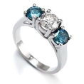 3 Stone Round White Diamond & Blue Diamond Accented Ring in 14K White Gold (1/4 ctw) ( DivaDiamonds ring )