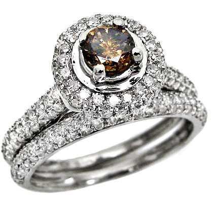 1.23ct Round Chocolate Brown Diamond Engagement Ring Wedding Band Set ( Front Jewelers ring ) รูปที่ 1