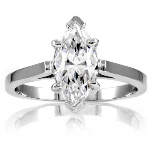 Sonia's Signity CZ Engagement Ring - Marquise Cut - 925 Sterling Silver, 2 Carat ( Emitations ring ) รูปที่ 1