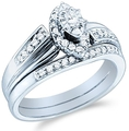 14k White Gold Diamond Ladies Womens Bridal Engagement Ring with Matching Wedding Band Two 2 Ring Set Solitaire with Side Stones Channel Pave Set Emerald Shape Center Marquise and Round Cut Diamond Ring 3mm (1/3 cttw, G - H Color, I1 Clarity) ( Sonia Jewels ring )