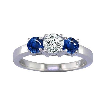 2 Ct 3-Stone Blue Sapphire & Diamond Engagement Ring In 14K White Gold ( FineDiamonds9 ring ) รูปที่ 1