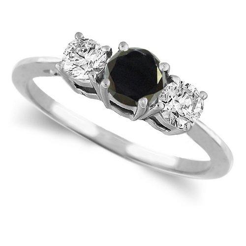 10K White Gold Round 3 Stone Black Diamond & White Diamond Ring (1/4 ctw) ( DivaDiamonds ring ) รูปที่ 1