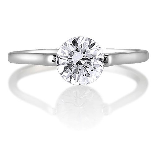Sterling Silver Round Cubic Zirconia CZ Solitaire Ring - Women's Engagement Wedding Ring ( BERRICLE ring ) รูปที่ 1