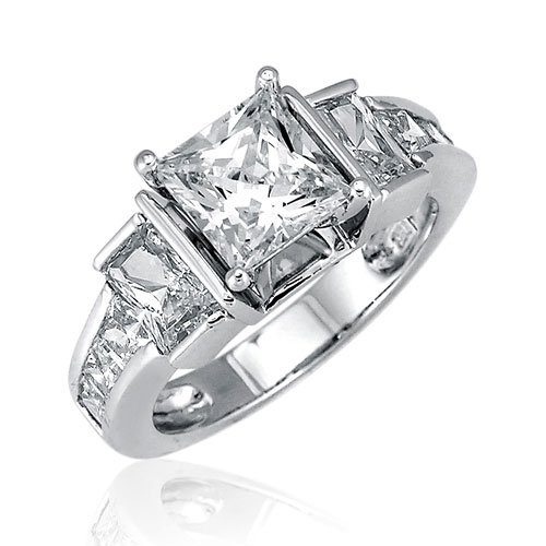 Sterling Silver Princess Cubic Zirconia CZ Ring - Women's Engagement Wedding Ring ( BERRICLE ring ) รูปที่ 1