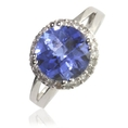 5.00cttw Natural White Round Diamonds (SI-Clarity, GH-Color) and Created Checkered Cut Tanzanite Ring in 14K White Gold. ( TriJewels ring )