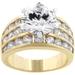 รูปย่อ 14k Gold Classic Round CZ Engagement Ring in Two Tone Featuring Four Row Channel Set Shoulders in Gold Tone in Sizes 5-10 with 7.5 Total Carat Weight ( J Goodin Inc ring ) รูปที่2