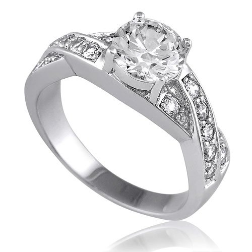 Sterling Silver Round Cubic Zirconia CZ Solitaire Ring w/Side Stones - Women's Engagement Wedding Ring ( BERRICLE ring ) รูปที่ 1