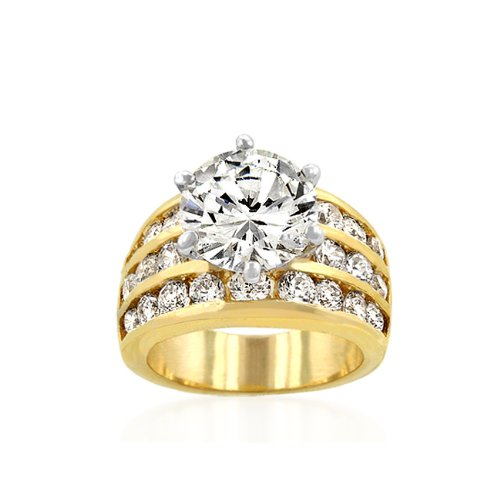 14k Gold Classic Round CZ Engagement Ring in Two Tone Featuring Four Row Channel Set Shoulders in Gold Tone in Sizes 5-10 with 7.5 Total Carat Weight ( J Goodin Inc ring ) รูปที่ 1