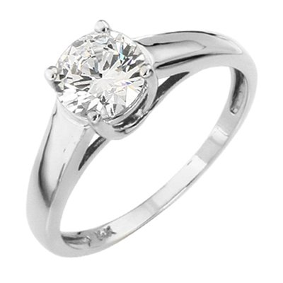 14K White Gold Round Solitaire CZ Cubic Zirconia Wedding Engagement Ring Band ( The World Jewelry Center ring ) รูปที่ 1