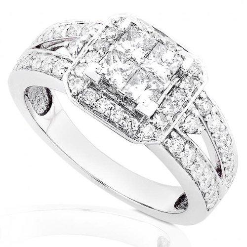 1 Carat Princess & Round Diamond Engagement Ring in 14kt White Gold ( Diamond-Me ring ) รูปที่ 1