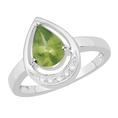 Certified 1.03 Ct Pear Peridot and Diamond Engagement Ring White 14K Gold ( Gem Jewelry by ND ring )