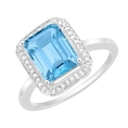 2.81 Ct Light Blue Color Emerald Topaz and Diamond White 14K Gold Engagement Ring ( Gem Jewelry by ND ring )