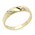 14K Engagement Ring 0.1ctw CZ Cubic Zirconia Women's Wedding Band Yellow Gold Ring ( Double Accent ring )