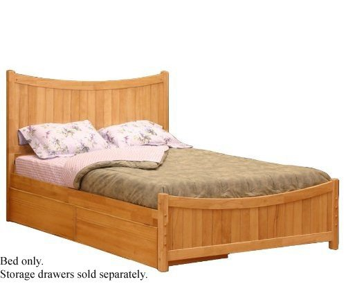 Queen Size Platform Bed with Footboard Natural Maple Finish  รูปที่ 1