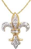 10k Gold Plated Sterling Silver Diamond Fleur-de-lis Pendant (1/4cttw) ( Amazon.com Collection pendant )