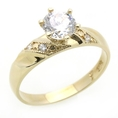 14K Engagement Ring 1ctw CZ Cubic Zirconia Solitaire Yellow Gold Ring ( Double Accent ring )