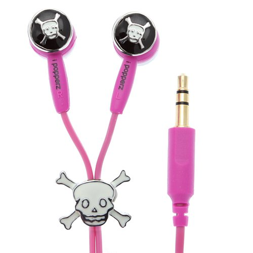 iPopperz IP-GRF-5002-P Pink Skull and Bones Ear Bud ( iPopperz Ear Bud Headphone ) รูปที่ 1