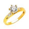 14K Yellow Gold Round Solitaire CZ Cubic Zirconia Wedding Engagement Ring Band ( The World Jewelry Center ring )