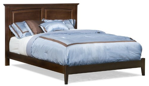 Twin Size Platform Bed with Open Footrail Antique Walnut Finish  รูปที่ 1