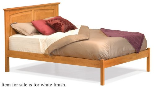 King Size Platform Bed with Open Footrail White Finish  รูปที่ 1